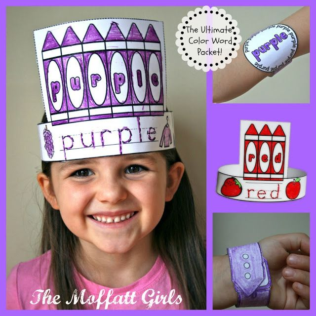 The Ultimate Color Word Packet!  Make a color word hat, a color word watch and sing a color word song!