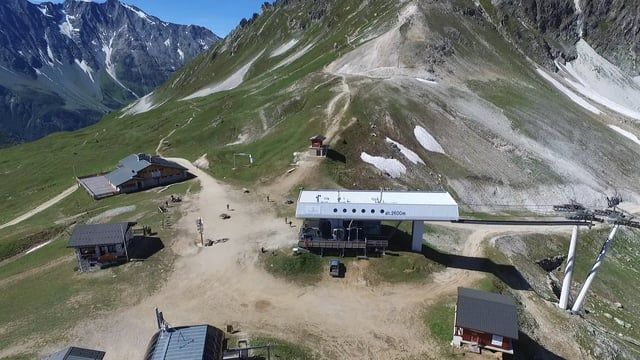 Summer panoramas of the Paradiski skiing domain and Peisey-Vallandry in the Alps (France) shot by a DJI Phantom 3 drone in August 2016.