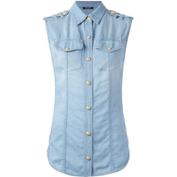 Balmain Denim Sleeveless Shirt ($610) ❤ liked on Polyvore featuring tops, denim blue, balmain top, sleeveless shirts, blue shirt, denim top and sleeveless tops