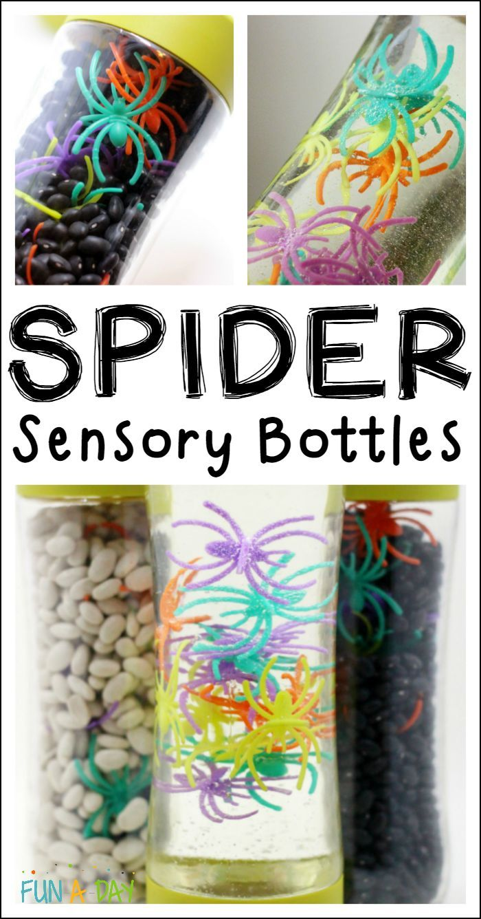 Fun and simple sensory bottle ideas for a spider theme