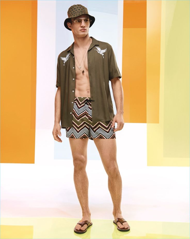 Model Julian Schneyder showcases summer style from River Island.