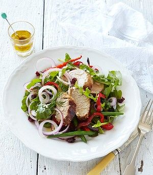 Warm chargrilled pork fillet and cranberry salad.