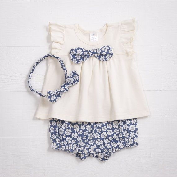 Baby Girl Outfit of Top and Shorts. Your little darling will look adorable in this outfit with optional headband! Flutter sleeve empire waist cotton rib