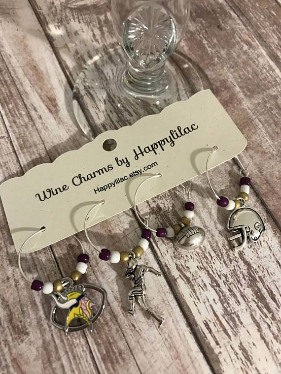 Football Wine Charms, Vikings Wine Charms, Beer Charms, Wine Charms, Vikings, Minnesota Vikings, Wine Charms by Happylilac