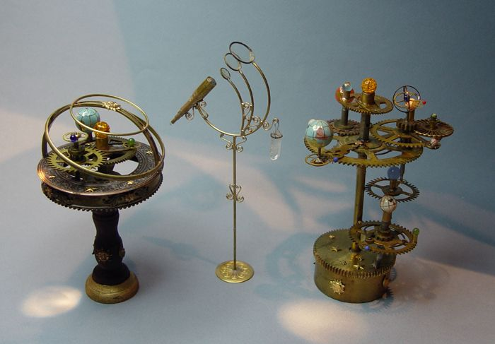 mini telescope and orreries for Haunted Dollhouse www.evminiatures.com