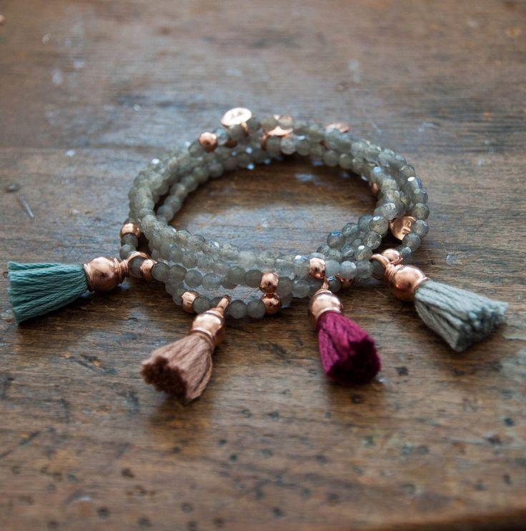 Rose Gold Tassel Bracelet with Labradorite by Vivien Frank Designs