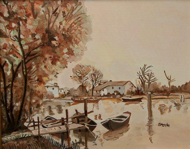 Autunno al lago - Olio su tela - cm. 40 x 50 - Anno: 1998
