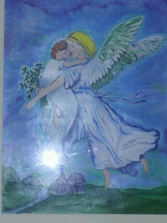 Gardian angel in colored pencil.