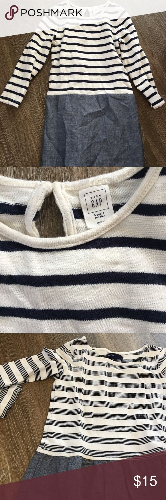 Adorable girls Gap dress! This is darling.  Girls Gap dress.  Navy and white stripes with light denim at bottom.  Great condition.  Not worn much. GAP Dresses Casual