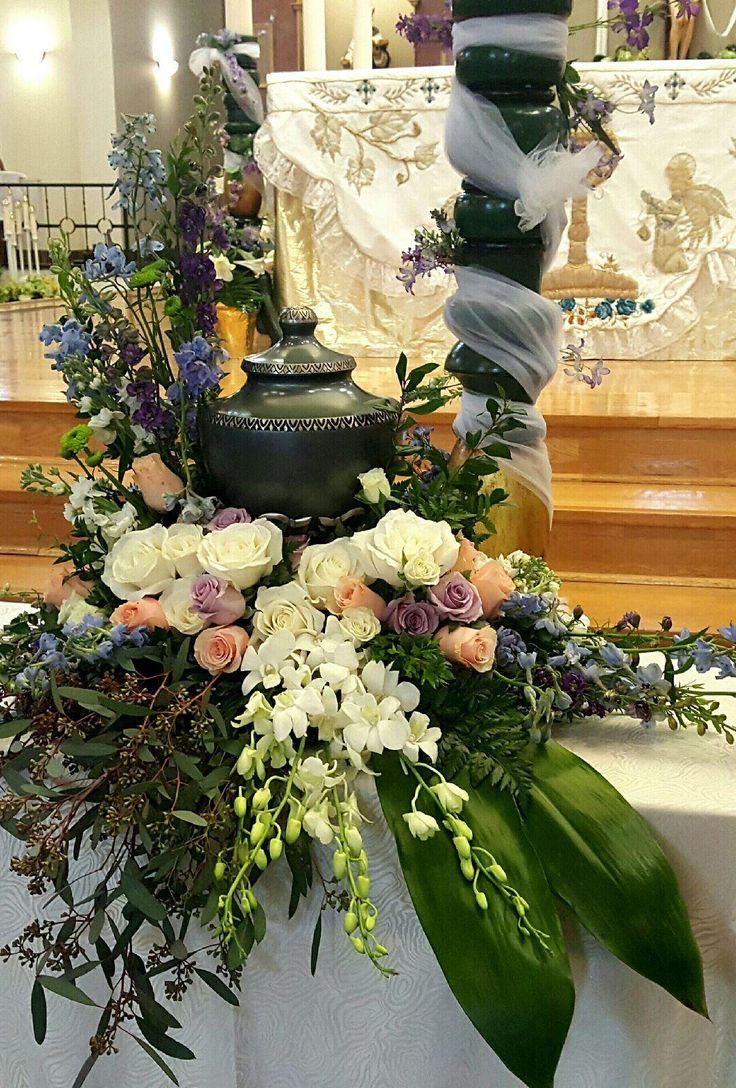 Thompson's Flower Shop Cremation Urn and Floral Arrangement