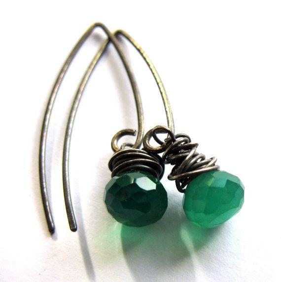 Green Onyx Sterling Silver Earrings Wire Wrapped Gemstone