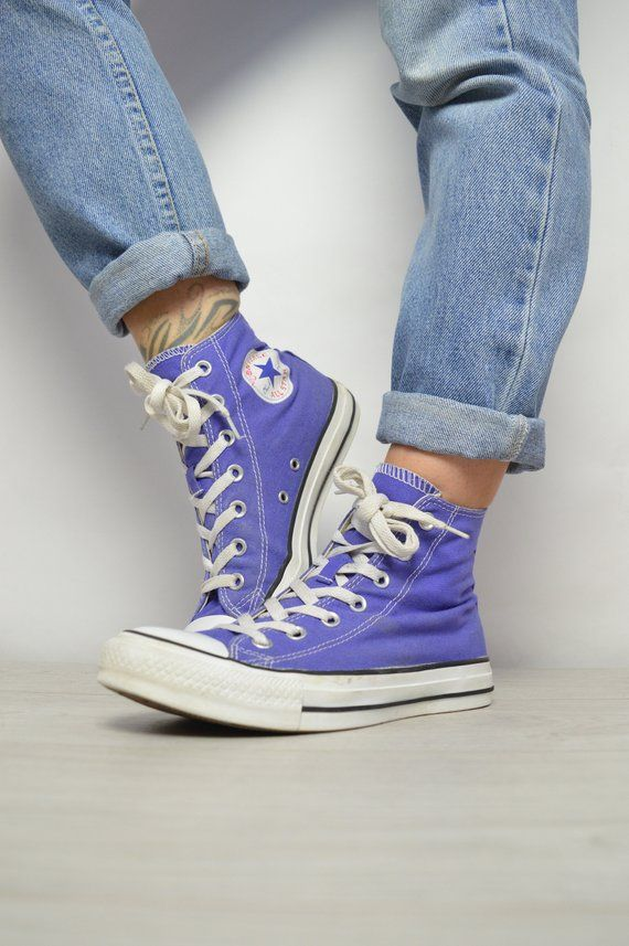 Vintage 90s Converse Purple Hi Tops Trainers Sneakers All