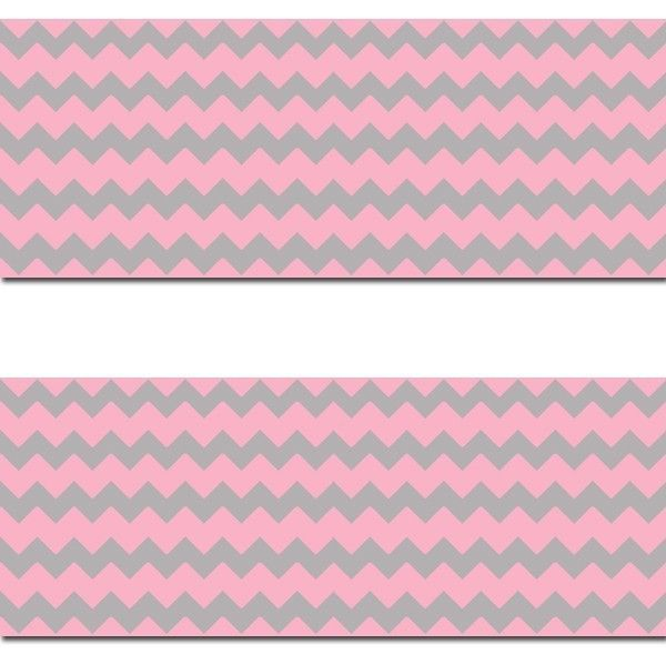 Pink Grey Chevron Wallpaper Border Wall Art Decals Baby Girl Nursery Room Decor #decampstudios