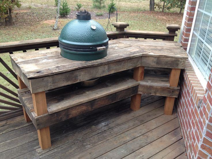 Big Green Egg table made with recycled wood from a barn