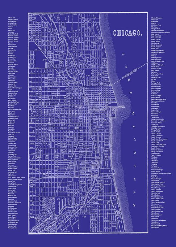 Chicago Blueprint Map  Neighborhood Map Blue by TheMapShop on Etsy