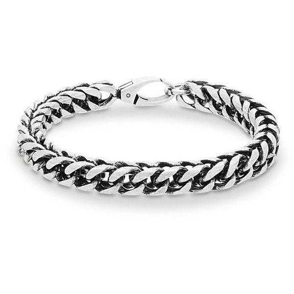 Men's Steve Madden 'Franco' Chain Bracelet ($40) ❤ liked on Polyvore featuring men's fashion, men's jewelry, men's bracelets, burnished silver, mens chains, mens stainless steel bracelets, mens watches jewelry, mens chain link bracelets and mens bracelets