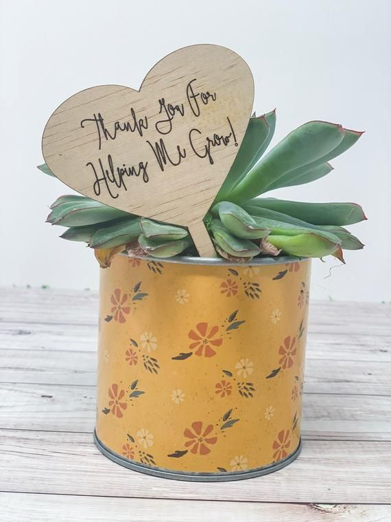 Teacher Appreciation Planter Tag – Wood Plant Tag – Teacher Gift- End Of Year Teacher Gift – Garden