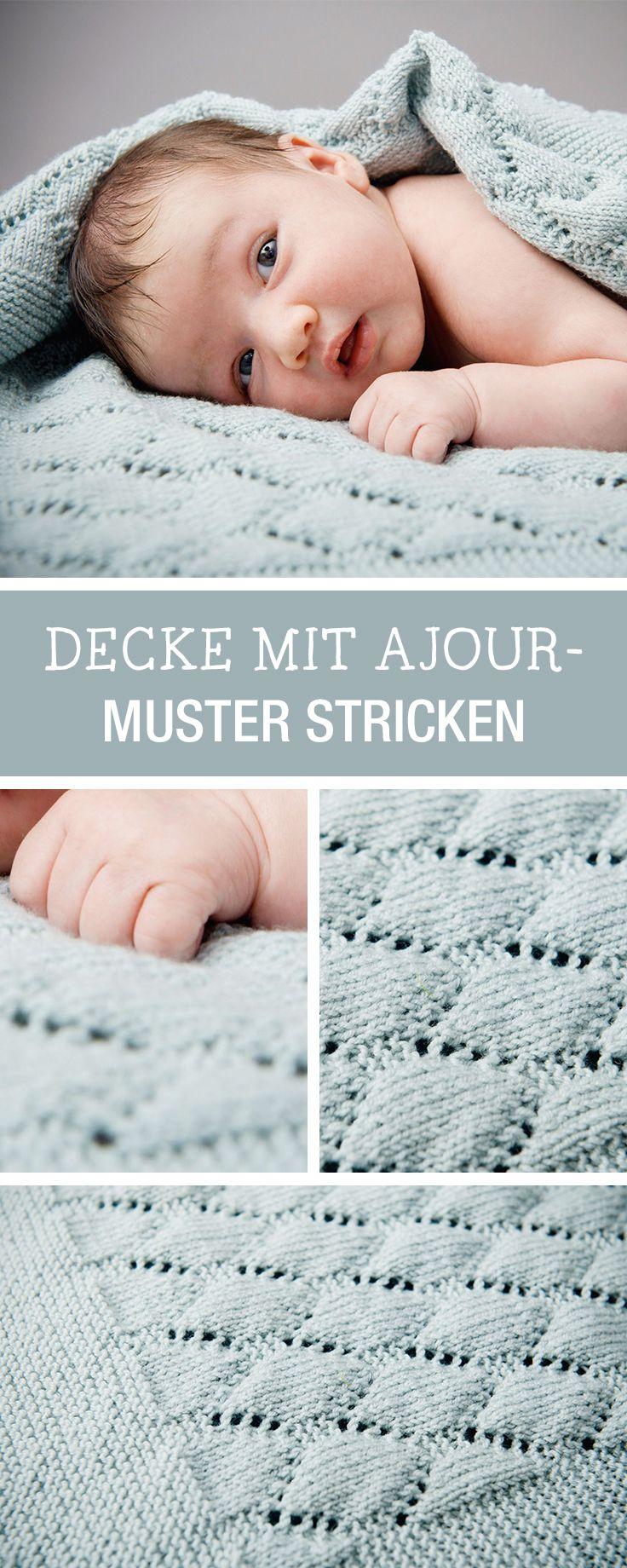DIY-Anleitung: Decke mit Ajour-Muster für Babys stricken, Geschenk zur Taufe / DIY tutorial: knitting baby blanket as christening present via DaWanda.com