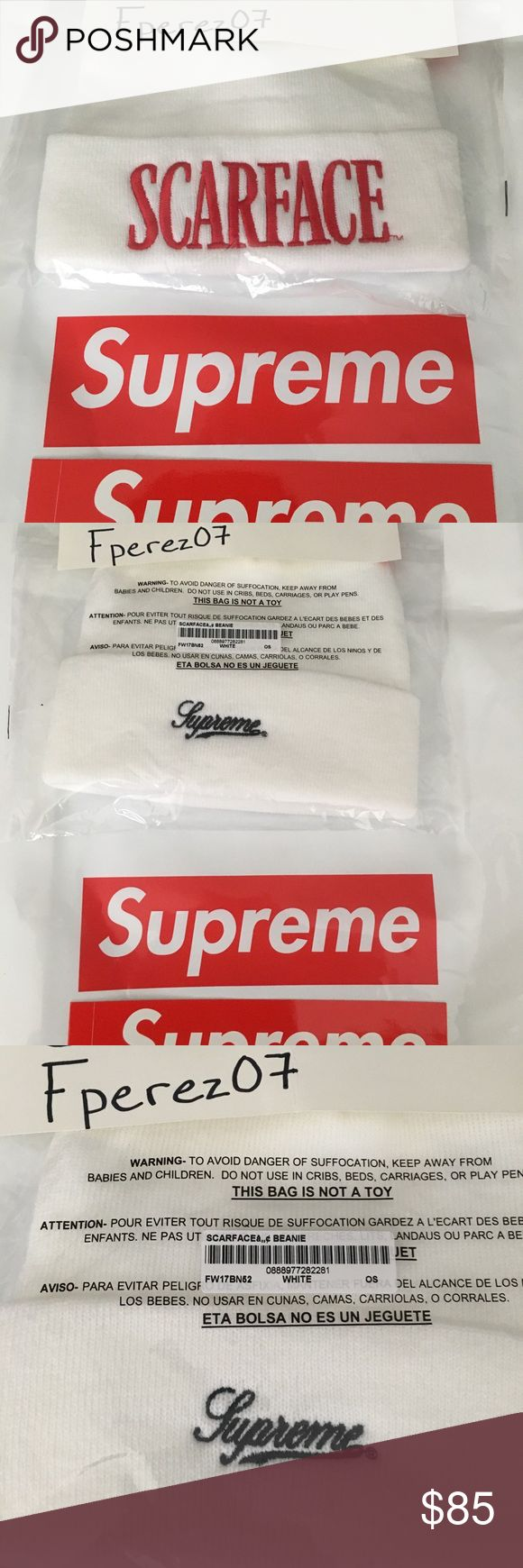Supreme Scarface Beanie Brand new! 100% Authentic Scarface Supreme beanie , Ordered online from Supreme directly. Never opened package, will come with white supreme bag and bogo sticker Supreme Accessories Hats