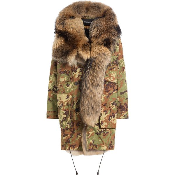 Parka with Fur Lining Dsquared2 (€3.054) ❤ liked on Polyvore featuring outerwear, coats, jackets, fur, fur lined parka coat, camouflage parka, fur parka, parka coat and brown fur coat