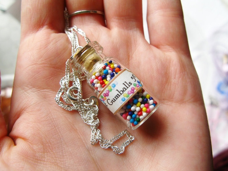 Wear the sweet memories of the candy store around your neck! Gumballs Candy Jar Necklace - Nostalgic Miniature Glass Bottle Jewelry. $12.00, via Etsy.
