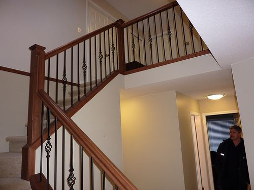 Wood Stair Railings with Pewter Finish Metal Spindles