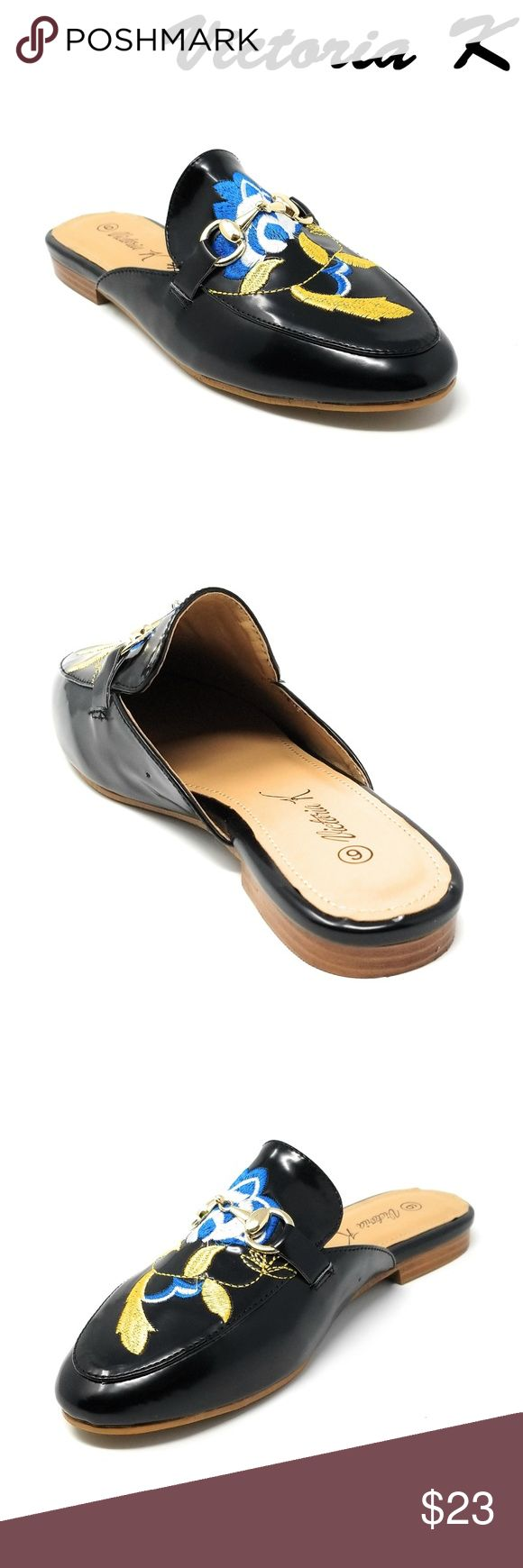 Women Slip-on Mules Slippers, HK-7084, Black Slip on a pair of gorgeous flat mules that make a fashionable woman. Faux-leather upper. Rubberized outer sole for traction. Sizes 6 through 8 are true, but 9 and 10 run small by a half-size. A true statement in ladies shoes fashion! Victoria K Shoes Flats & Loafers