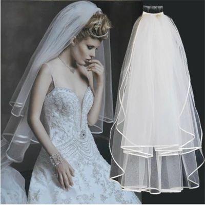 >> Click to Buy << Free Shipping voile mariage White Ribbon Edge wedding veil Two-Layer Tulle Bridal Veil Wedding Accessories velos de novia 430 #Affiliate
