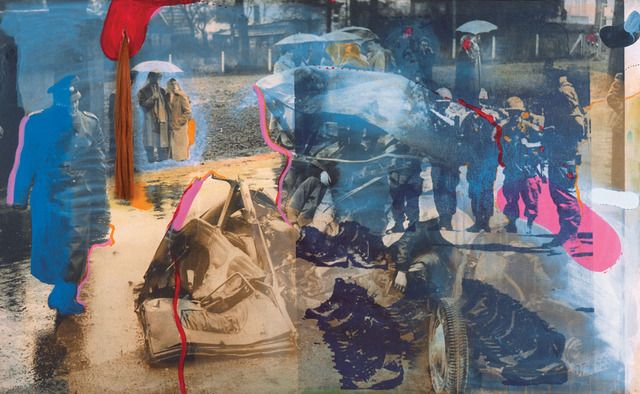 Car Accident (1965-67) Vostell, Wolf hair, the azure paint, acrylic, silkscreen on canvas, enlarged photos, 122 x 201 cm