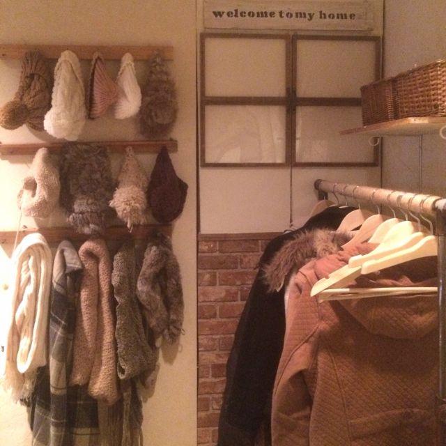 hinano1017さんの、玄関/入り口,衣類収納,カゴ収納,見せ収納,ニトリ ハンガー,のお部屋写真
