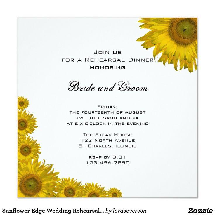 Jantar de ensaio do casamento da borda do girassol convite quadrado 13.35 x 13.35cm