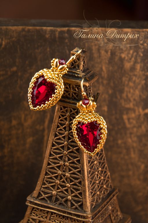 """Купить Серьги """"Дама червей"""" из бисера с кристаллами Сваровски - золотой, серьги, золотые серьги"""