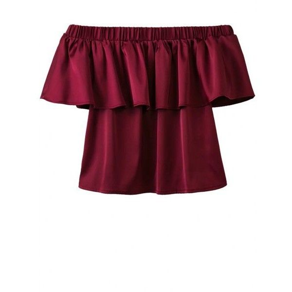 Off The Shoulder Flounce Ruffles Blouse Wine Red ($21) ❤ liked on Polyvore featuring tops, blouses, ruffle top, frilly blouse, off shoulder ruffle blouse, off shoulder blouse and flounce tops