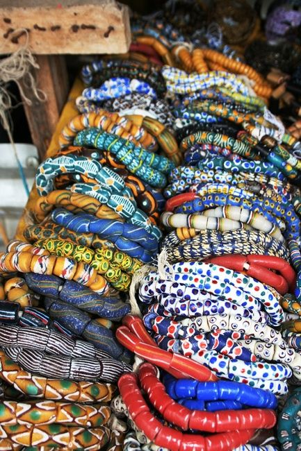 A collection of modern African Glass beads, made in the Krobo region of Ghana, West Africa