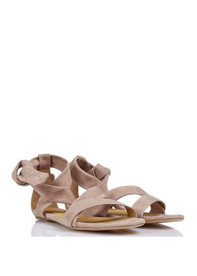 Sandales plates en cuir velours Valentina Rose by BA & SH