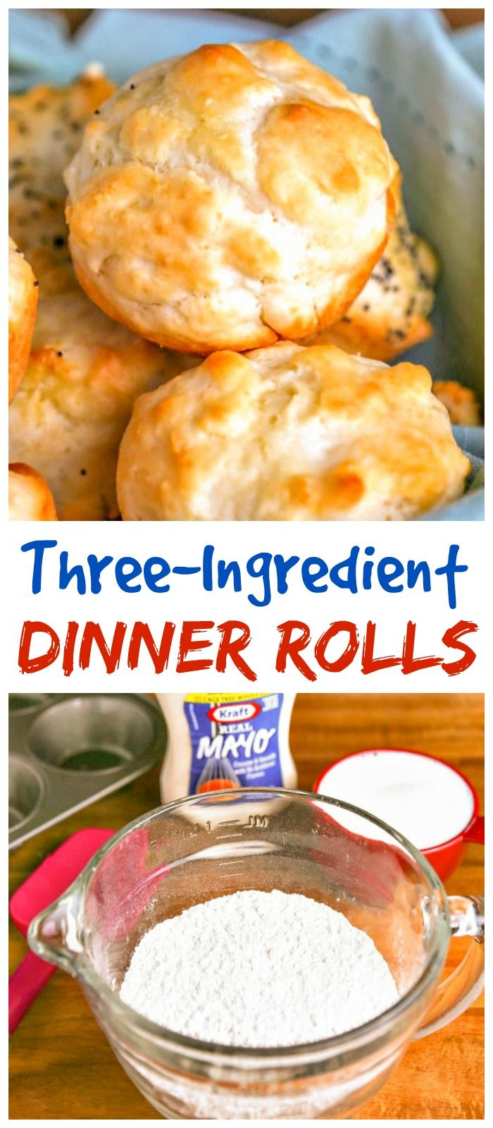 These quick and easy dinner rolls with mayonnaise need no yeast or rise time! #rolls #baking #bread
