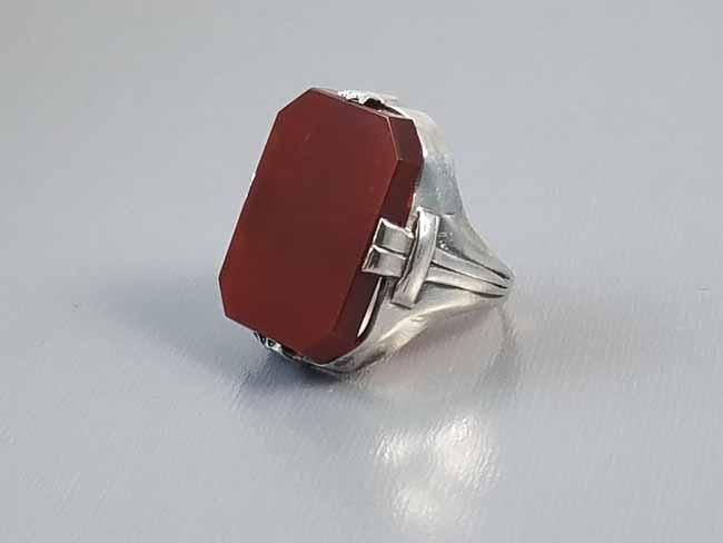 Antique early Art Deco 1920s sterling silver carnelian statement ring with buckle detail / size 5