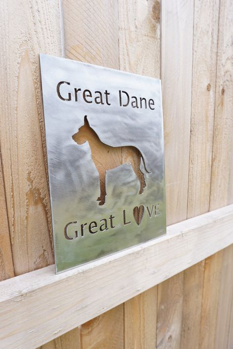 Show your love for your Great Dane! This sign is 8.5 x 11 featured in a polished steel with the quote Great Dane Great Love. This item is available
