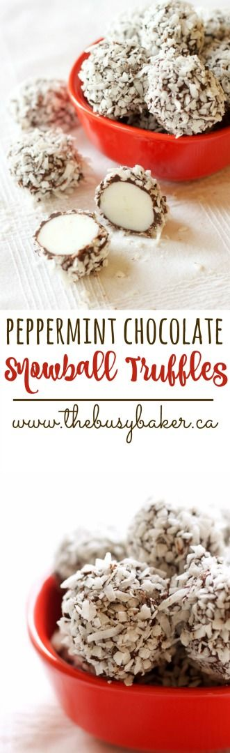 These Peppermint Chocolate Snowball Truffles are such an easy recipe for a Christmas treat! www.thebusybaker.ca