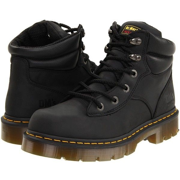 Dr. Martens Work Burnham NS 6 Tie Boot Work Lace-up Boots ($130) ❤ liked on Polyvore featuring shoes, boots, men, knee-high boots, front lace up boots, knee high lace up boots, dr martens boots, tie boots and lace up shoes