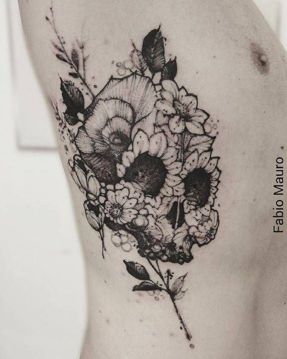 Sketch work floral skull tattoo on the right side. Tattoo Artist: Fabio Mauro