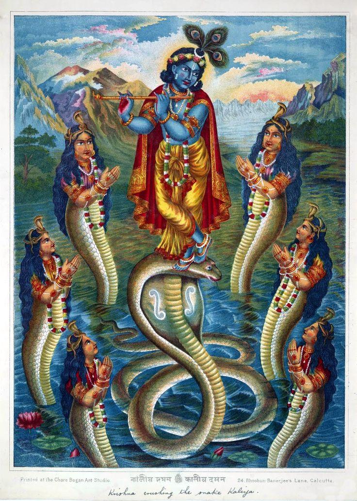 Krishna Dancing on Snake Demon Kaliya and Surrounded by the Naginis in-River Jumna -Lithograph Print, Chore Bagan Art Studio,Calcutta-(Kolkata) Circa 1895