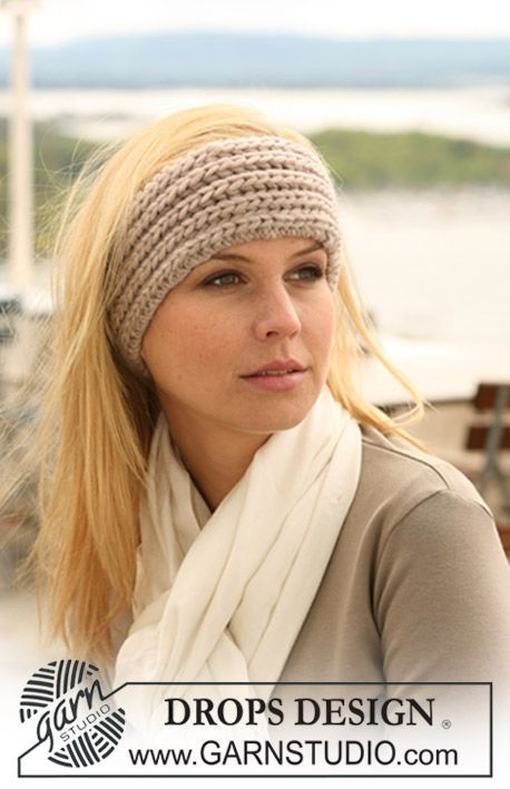 """Knitted - DROPS headband in English rib in """"Eskimo"""" - Free pattern - Printed - I knitted this headband :-)"""
