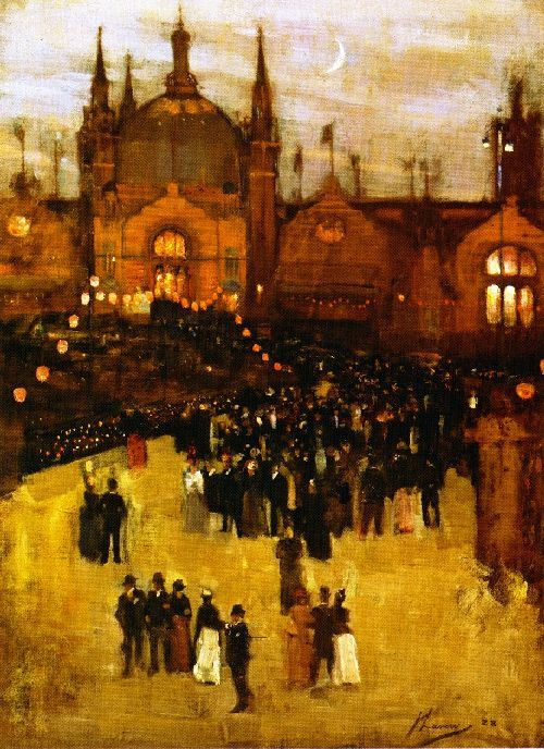 The Glasgow International Exhibition, 1888 by Sir John Lavery (Irish 1856-1941) ....although Irish, Lavery spent much of his formative life and career in Scotland and was a central figure of The Glasgow Boys...