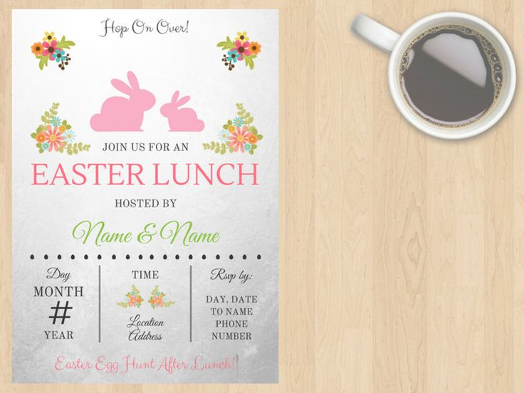 Digital Download Easter Pink, White, Green, Grey, Black Lunch, Dinner, Party, Birthday, Floral Invitation Cute Customisable Printable File by DesignsByMoniqueAU on Etsy
