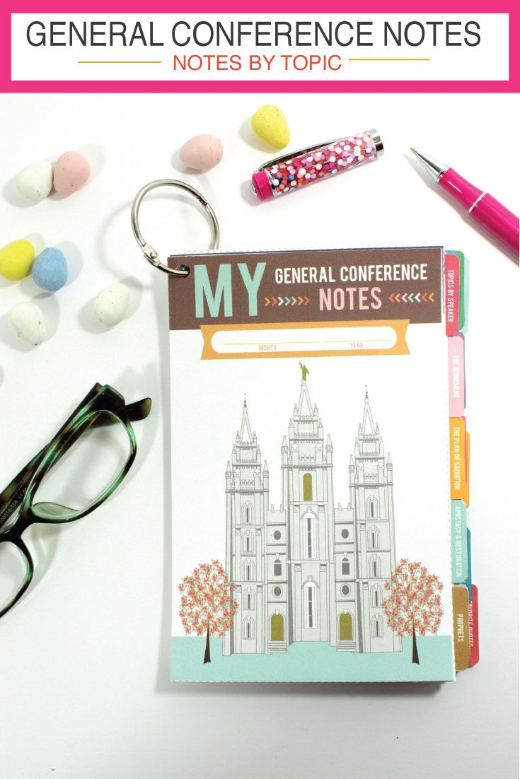 General Conference Note Flip Book!  This helps you take notes by TOPIC!  Included are darling, illustrated pages for all of the Come Follow Me topics - so this is GREAT FOR YOUTH - or anyone!  You have to check the pictures out.  #ldsgeneralconference #generalconferencenoteideas