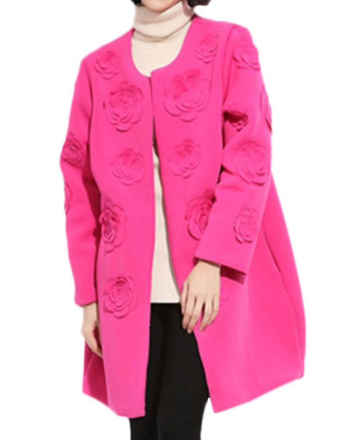 3D Flowers-detailed Round-neck Loose Md-long Coat | BlackFive
