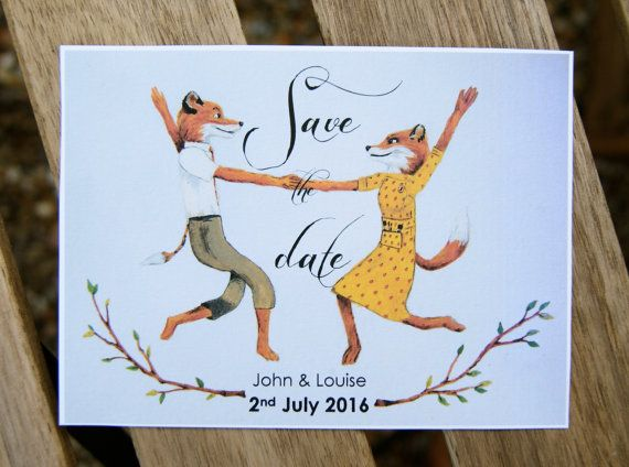 Fantastic Mr Fox Save the Date cards by Maggiesneedle on Etsy