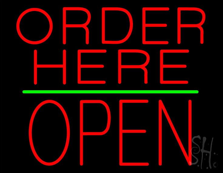 Order Here Block Open Green Line Neon Sign 24 Tall x 31 Wide x 3 Deep, is 100% Handcrafted with Real Glass Tube Neon Sign. !!! Made in USA !!!  Colors on the sign are Red and Green. Order Here Block Open Green Line Neon Sign is high impact, eye catching, real glass tube neon sign. This characteristic glow can attract customers like nothing else, virtually burning your identity into the minds of potential and future customers.