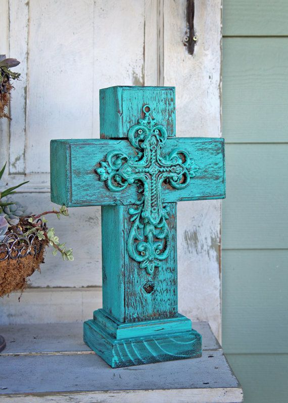 Rustic turquoise wooden cross by vintagesoul1 on etsy 50 for Cheap wooden crosses for crafts